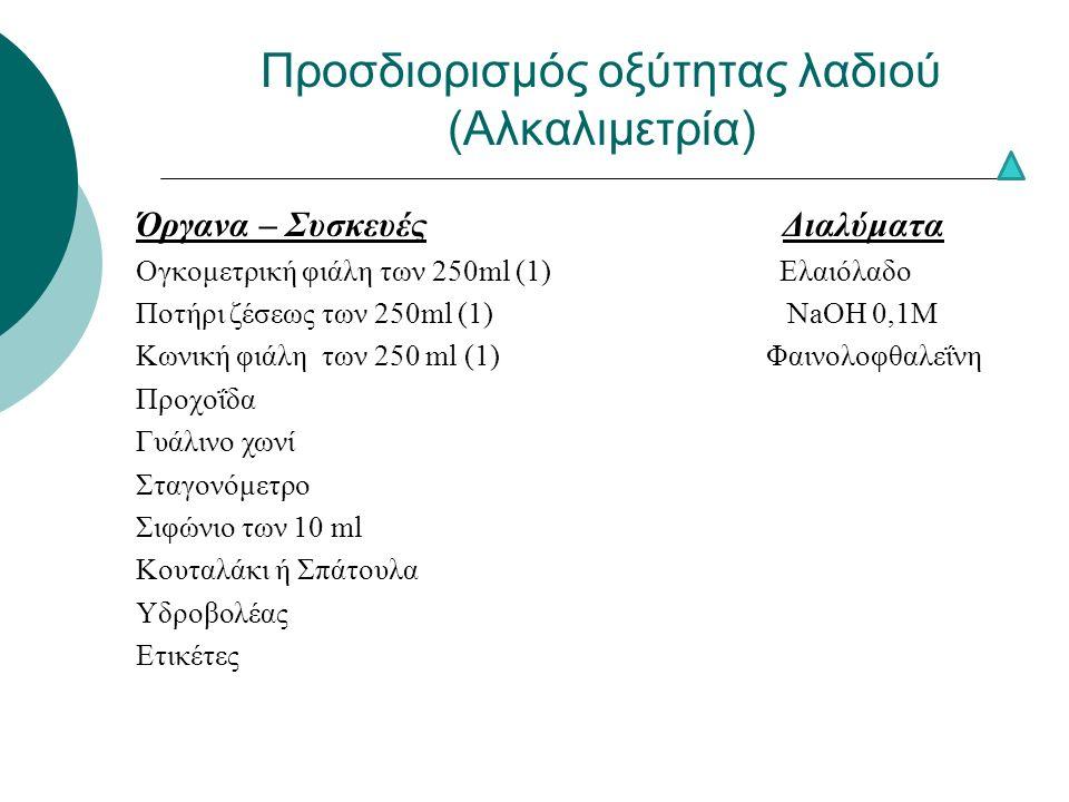 Προσδιορισμός οξύτητας λαδιού (Αλκαλιμετρία) Όργανα – Συσκευές Διαλύματα Ογκομετρική φιάλη των 250ml (1) Ελαιόλαδο Ποτήρι ζέσεως των 250ml (1) NaOH 0,1M Κωνική φιάλη των 250 ml (1) Φαινολοφθαλεΐνη Προχοΐδα Γυάλινο χωνί Σταγονόμετρο Σιφώνιο των 10 ml Κουταλάκι ή Σπάτουλα Υδροβολέας Ετικέτες