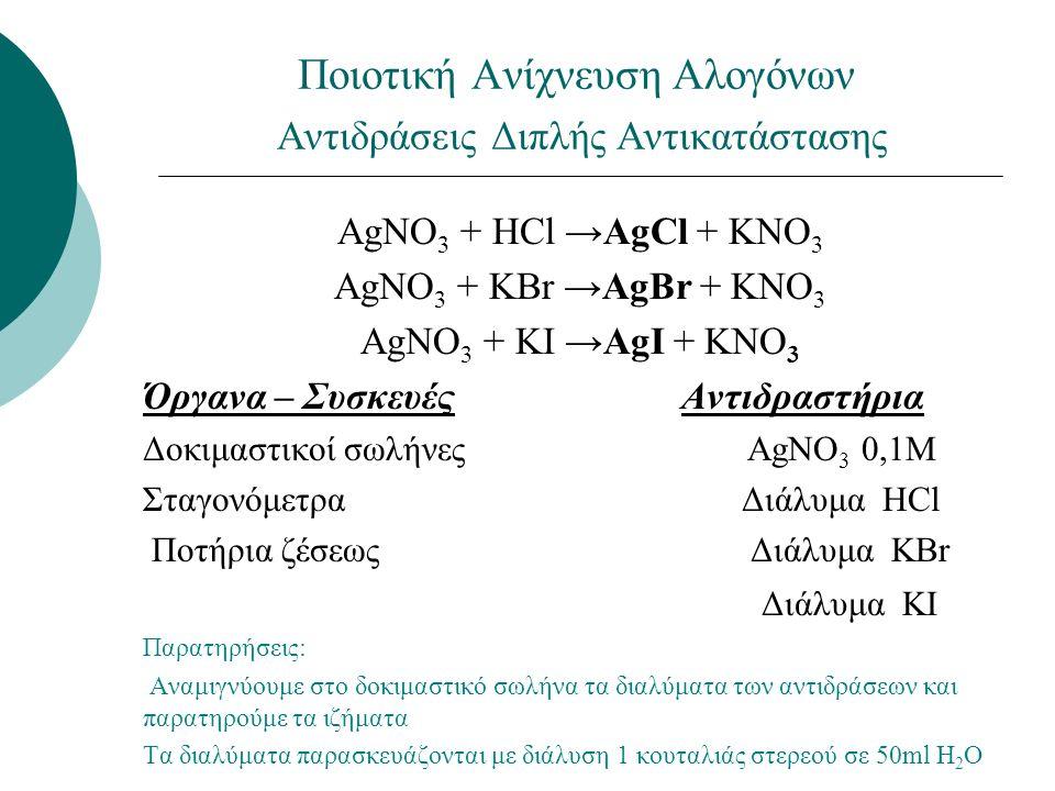Ποιοτική Ανίχνευση Αλογόνων Αντιδράσεις Διπλής Αντικατάστασης ΑgNO 3 + HCl →AgCl + KNO 3 ΑgNO 3 + KBr →AgBr + KNO 3 ΑgNO 3 + KI →AgI + KNO 3 Όργανα – Συσκευές Αντιδραστήρια Δοκιμαστικοί σωλήνες ΑgNO 3 0,1Μ Σταγονόμετρα Διάλυμα HCl Ποτήρια ζέσεως Διάλυμα KBr Διάλυμα KI Παρατηρήσεις: Αναμιγνύουμε στο δοκιμαστικό σωλήνα τα διαλύματα των αντιδράσεων και παρατηρούμε τα ιζήματα Τα διαλύματα παρασκευάζονται με διάλυση 1 κουταλιάς στερεού σε 50ml H 2 O