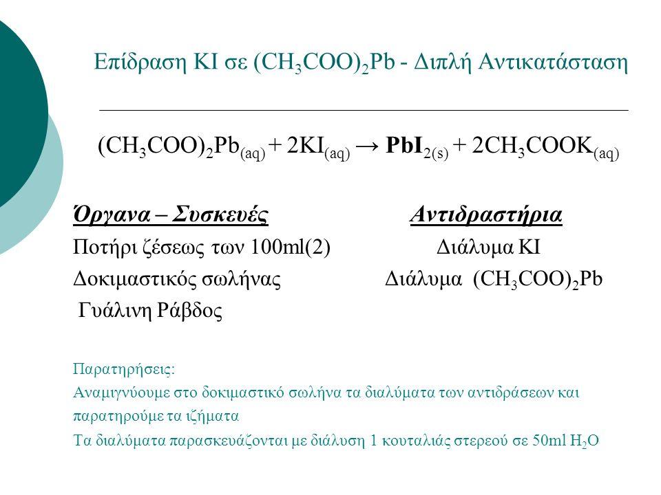 Επίδραση ΚΙ σε (CH 3 COO) 2 Pb - Διπλή Αντικατάσταση (CH 3 COO) 2 Pb (aq) + 2KI (aq) → PbI 2(s) + 2CH 3 COOK (aq) Όργανα – Συσκευές Αντιδραστήρια Ποτήρι ζέσεως των 100ml(2) Διάλυμα ΚΙ Δοκιμαστικός σωλήνας Διάλυμα (CH 3 COO) 2 Pb Γυάλινη Ράβδος Παρατηρήσεις: Αναμιγνύουμε στο δοκιμαστικό σωλήνα τα διαλύματα των αντιδράσεων και παρατηρούμε τα ιζήματα Τα διαλύματα παρασκευάζονται με διάλυση 1 κουταλιάς στερεού σε 50ml H 2 O