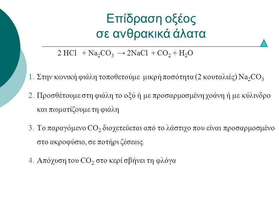2 ΗCl + Νa 2 CO 3 → 2NaCl + CO 2 + H 2 O 1.Στην κωνική φιάλη τοποθετούμε μικρή ποσότητα (2 κουταλιές) Na 2 CO 3 2.Προσθέτουμε στη φιάλη το οξύ ή με προσαρμοσμένη χοάνη ή με κύλινδρο και πωματίζουμε τη φιάλη 3.Το παραγόμενο CO 2 διοχετεύεται από το λάστιχο που είναι προσαρμοσμένο στο ακροφύσιο, σε ποτήρι ζέσεως.