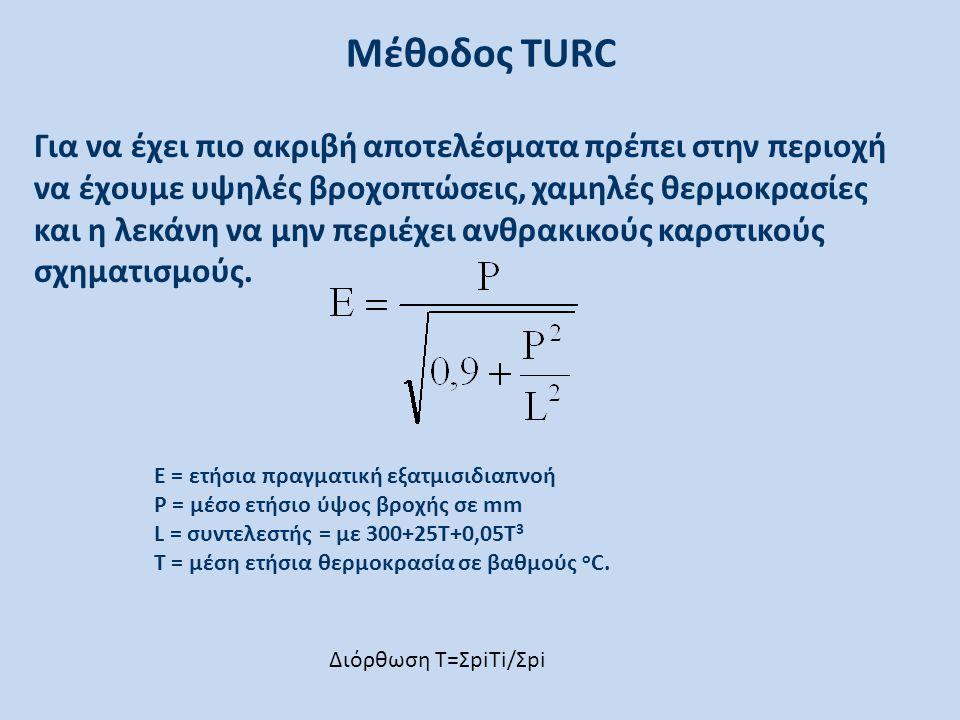 Μέθοδος TURC Για να έχει πιο ακριβή αποτελέσματα πρέπει στην περιοχή να έχουμε υψηλές βροχοπτώσεις, χαμηλές θερμοκρασίες και η λεκάνη να μην περιέχει ανθρακικούς καρστικούς σχηματισμούς.