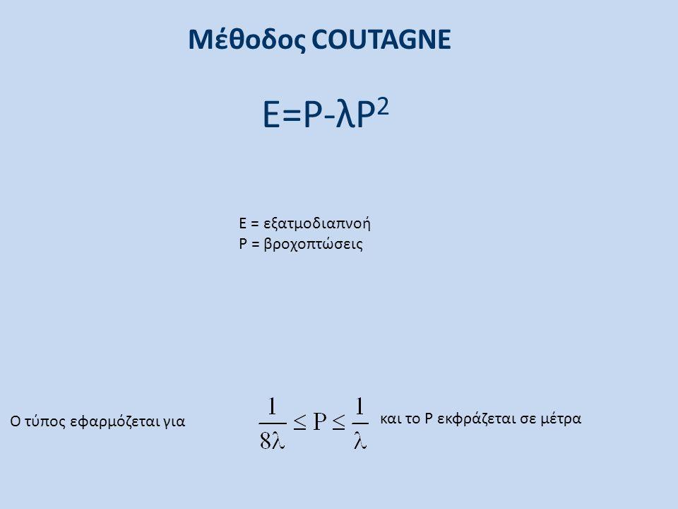 Μέθοδος COUTAGNE Ο τύπος εφαρμόζεται για και το Ρ εκφράζεται σε μέτρα Ε=Ρ-λΡ 2 Ε = εξατμοδιαπνοή Ρ = βροχοπτώσεις