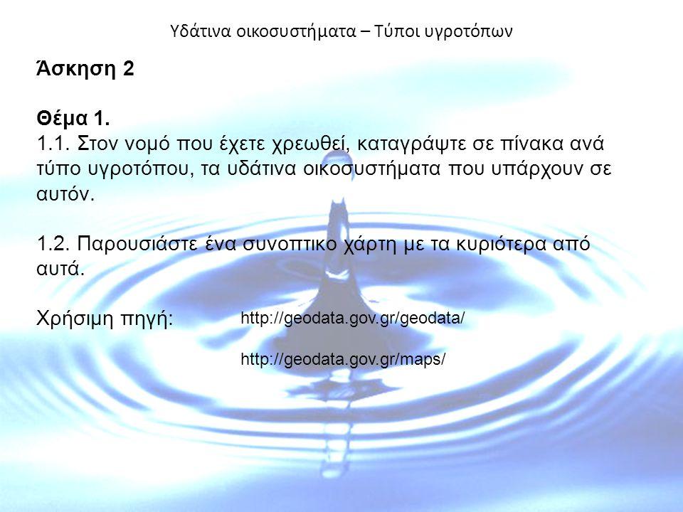 Υδάτινα οικοσυστήματα – Τύποι υγροτόπων Άσκηση 2 Θέμα 1. 1.1. Στον νομό που έχετε χρεωθεί, καταγράψτε σε πίνακα ανά τύπο υγροτόπου, τα υδάτινα οικοσυσ