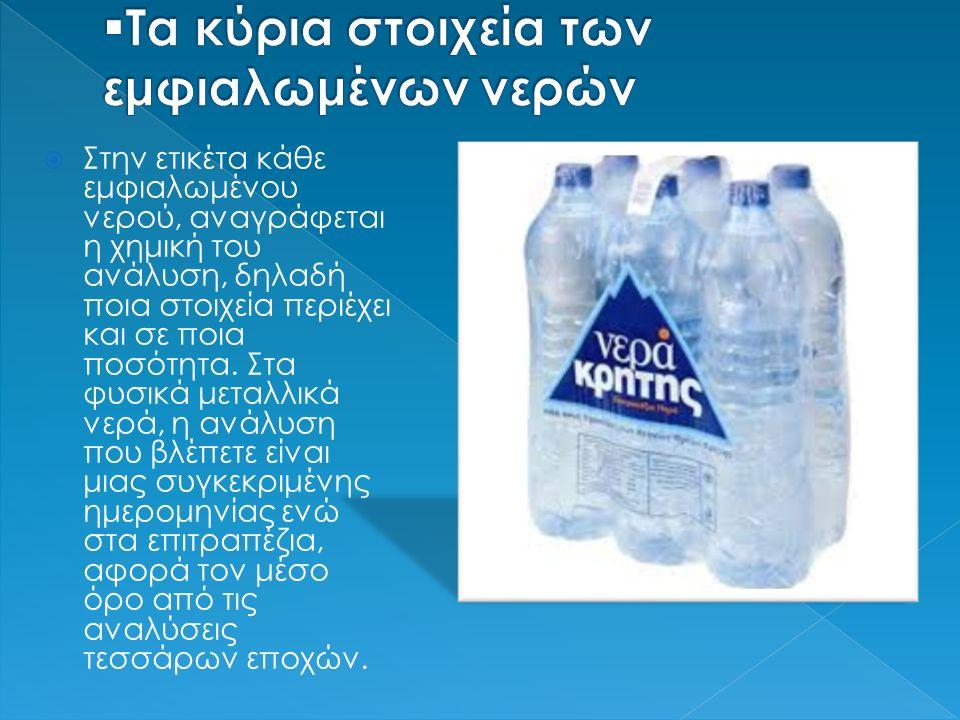  Στην ετικέτα κάθε εμφιαλωμένου νερού, αναγράφεται η χημική του ανάλυση, δηλαδή ποια στοιχεία περιέχει και σε ποια ποσότητα. Στα φυσικά μεταλλικά νερ