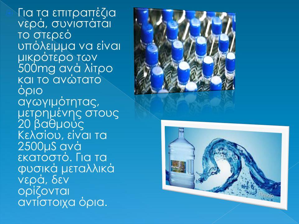  Για τα επιτραπέζια νερά, συνιστάται το στερεό υπόλειμμα να είναι μικρότερο των 500mg ανά λίτρο και το ανώτατο όριο αγωγιμότητας, μετρημένης στους 20 βαθμούς Κελσίου, είναι τα 2500μS ανά εκατοστό.