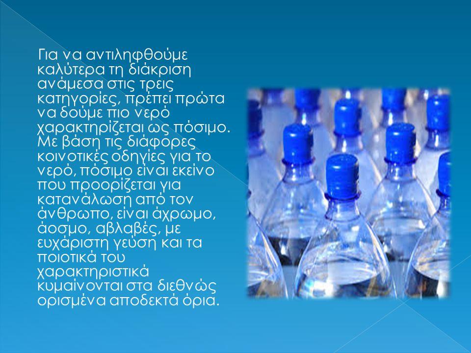 Για να αντιληφθούμε καλύτερα τη διάκριση ανάμεσα στις τρεις κατηγορίες, πρέπει πρώτα να δούμε πιο νερό χαρακτηρίζεται ως πόσιμο. Με βάση τις διάφορες