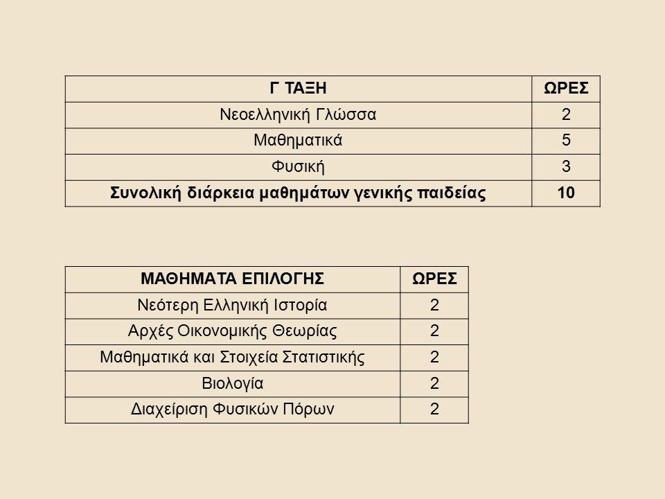 Γ ΤΑΞΗΩΡΕΣ Νεοελληνική Γλώσσα2 Μαθηματικά5 Φυσική3 Συνολική διάρκεια μαθημάτων γενικής παιδείας10 ΜΑΘΗΜΑTA ΕΠΙΛΟΓΗΣΩΡΕΣ Νεότερη Ελληνική Ιστορία2 Αρχές Οικονομικής Θεωρίας2 Μαθηματικά και Στοιχεία Στατιστικής2 Βιολογία2 Διαχείριση Φυσικών Πόρων2