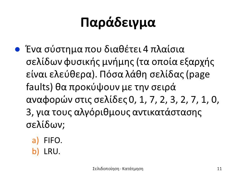 Παράδειγμα ●Ένα σύστημα που διαθέτει 4 πλαίσια σελίδων φυσικής μνήμης (τα οποία εξαρχής είναι ελεύθερα).