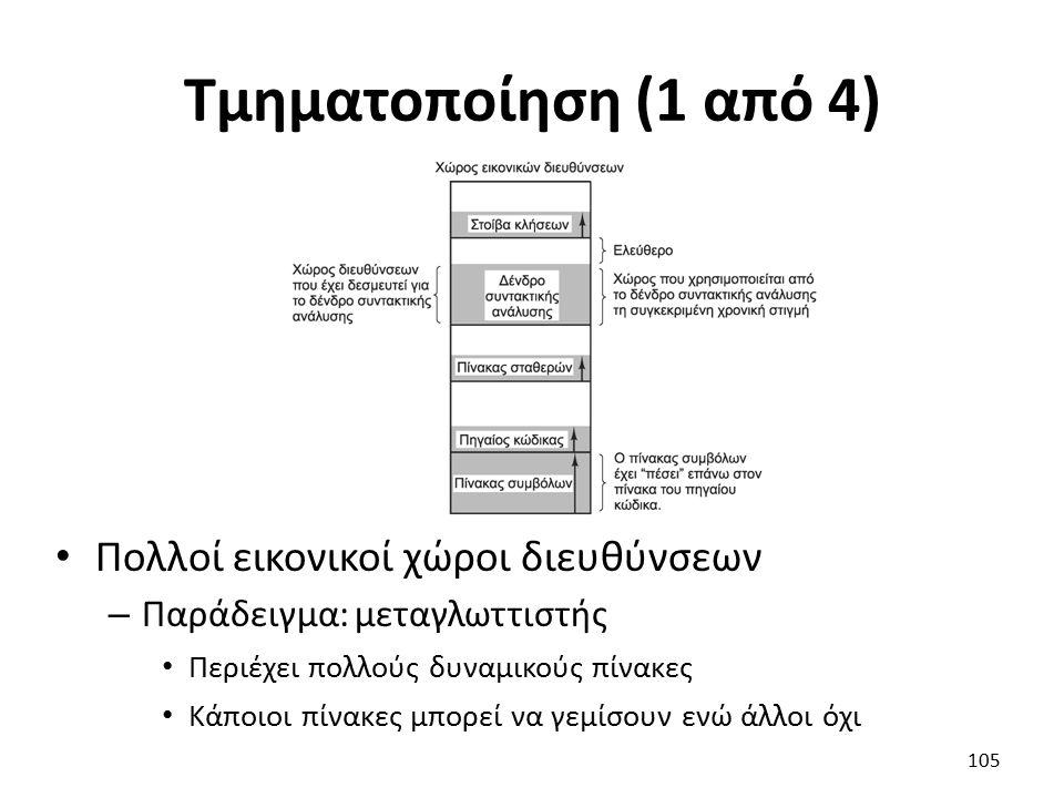 Τμηματοποίηση (1 από 4) Πολλοί εικονικοί χώροι διευθύνσεων – Παράδειγμα: μεταγλωττιστής Περιέχει πολλούς δυναμικούς πίνακες Κάποιοι πίνακες μπορεί να γεμίσουν ενώ άλλοι όχι 105