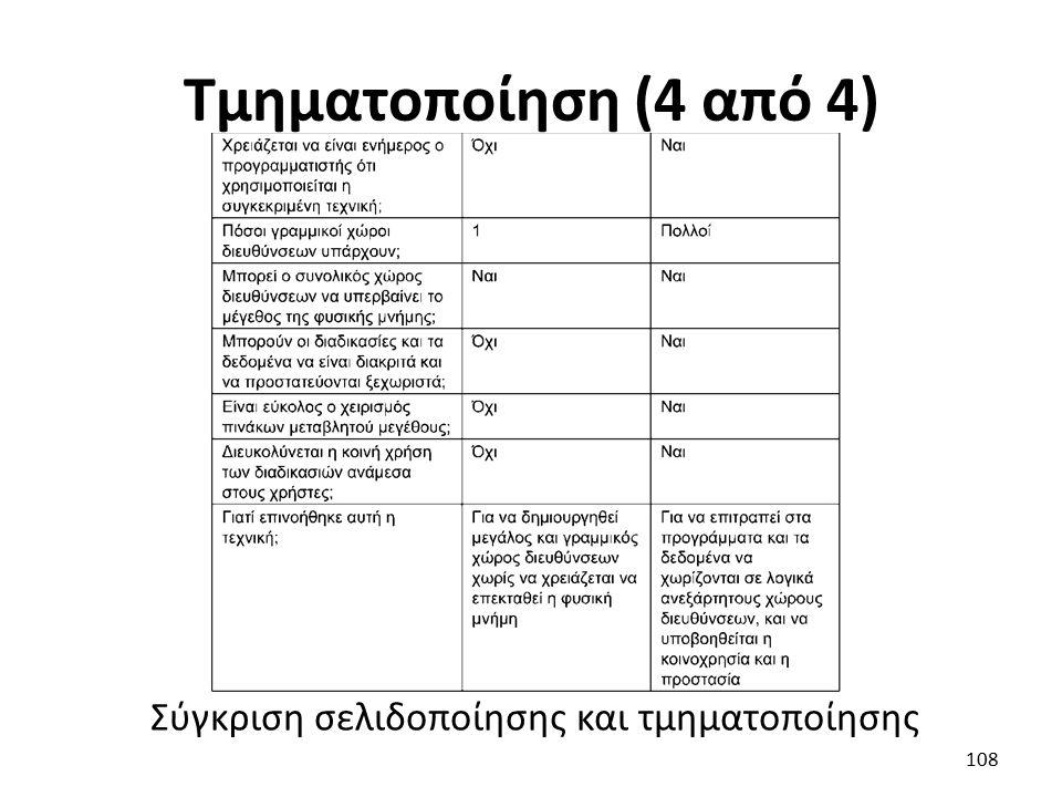 Τμηματοποίηση (4 από 4) Σύγκριση σελιδοποίησης και τμηματοποίησης 108