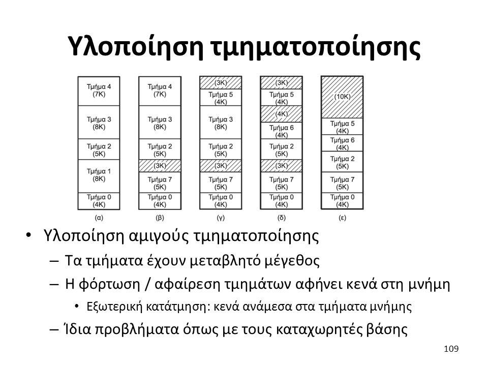 Υλοποίηση τμηματοποίησης Υλοποίηση αμιγούς τμηματοποίησης – Τα τμήματα έχουν μεταβλητό μέγεθος – Η φόρτωση / αφαίρεση τμημάτων αφήνει κενά στη μνήμη Εξωτερική κατάτμηση: κενά ανάμεσα στα τμήματα μνήμης – Ίδια προβλήματα όπως με τους καταχωρητές βάσης 109