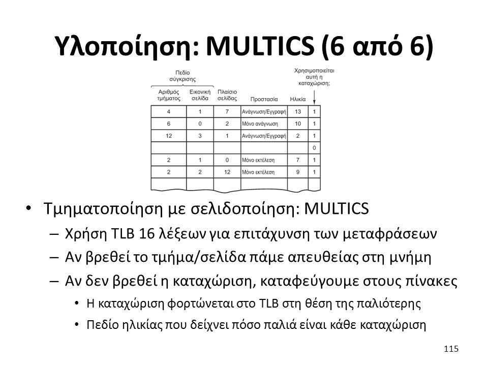 Υλοποίηση: MULTICS (6 από 6) Τμηματοποίηση με σελιδοποίηση: MULTICS – Χρήση TLB 16 λέξεων για επιτάχυνση των μεταφράσεων – Αν βρεθεί το τμήμα/σελίδα πάμε απευθείας στη μνήμη – Αν δεν βρεθεί η καταχώριση, καταφεύγουμε στους πίνακες Η καταχώριση φορτώνεται στο TLB στη θέση της παλιότερης Πεδίο ηλικίας που δείχνει πόσο παλιά είναι κάθε καταχώριση 115
