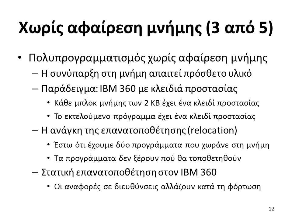 Χωρίς αφαίρεση μνήμης (3 από 5) Πολυπρογραμματισμός χωρίς αφαίρεση μνήμης – Η συνύπαρξη στη μνήμη απαιτεί πρόσθετο υλικό – Παράδειγμα: ΙΒΜ 360 με κλει