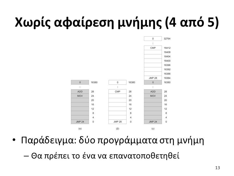 Χωρίς αφαίρεση μνήμης (4 από 5) Παράδειγμα: δύο προγράμματα στη μνήμη – Θα πρέπει το ένα να επανατοποθετηθεί 13