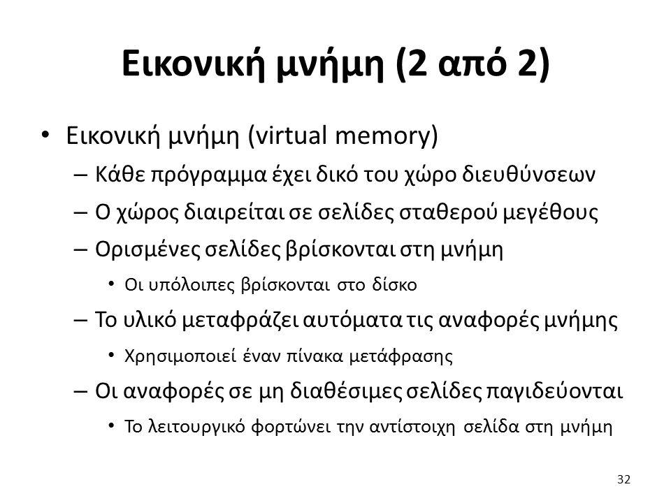 Εικονική μνήμη (2 από 2) Εικονική μνήμη (virtual memory) – Κάθε πρόγραμμα έχει δικό του χώρο διευθύνσεων – Ο χώρος διαιρείται σε σελίδες σταθερού μεγέθους – Ορισμένες σελίδες βρίσκονται στη μνήμη Οι υπόλοιπες βρίσκονται στο δίσκο – Το υλικό μεταφράζει αυτόματα τις αναφορές μνήμης Χρησιμοποιεί έναν πίνακα μετάφρασης – Οι αναφορές σε μη διαθέσιμες σελίδες παγιδεύονται Το λειτουργικό φορτώνει την αντίστοιχη σελίδα στη μνήμη 32