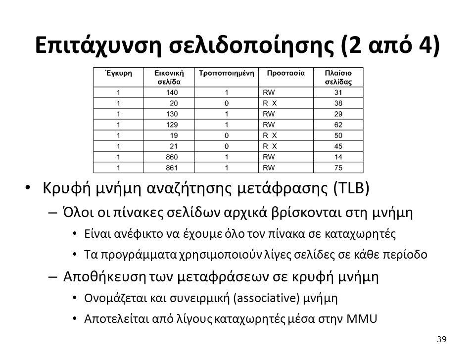 Επιτάχυνση σελιδοποίησης (2 από 4) Κρυφή μνήμη αναζήτησης μετάφρασης (TLB) – Όλοι οι πίνακες σελίδων αρχικά βρίσκονται στη μνήμη Είναι ανέφικτο να έχουμε όλο τον πίνακα σε καταχωρητές Τα προγράμματα χρησιμοποιούν λίγες σελίδες σε κάθε περίοδο – Αποθήκευση των μεταφράσεων σε κρυφή μνήμη Ονομάζεται και συνειρμική (associative) μνήμη Αποτελείται από λίγους καταχωρητές μέσα στην MMU 39