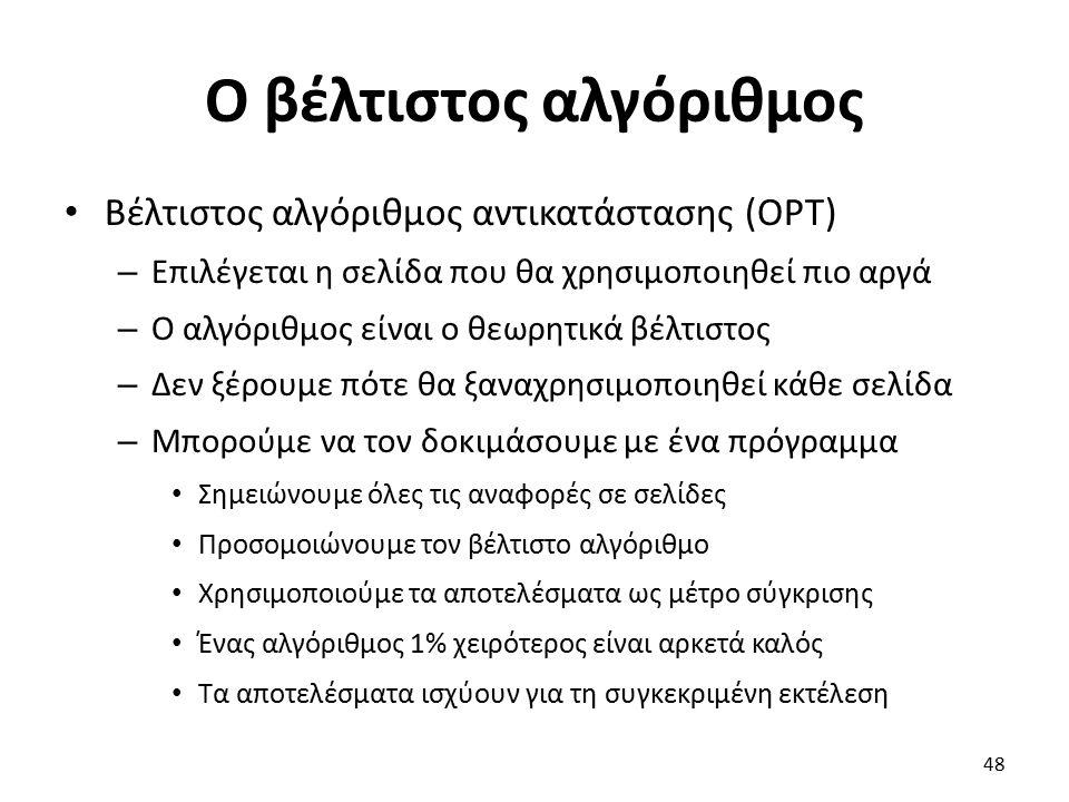 Ο βέλτιστος αλγόριθμος Βέλτιστος αλγόριθμος αντικατάστασης (OPT) – Επιλέγεται η σελίδα που θα χρησιμοποιηθεί πιο αργά – Ο αλγόριθμος είναι ο θεωρητικά