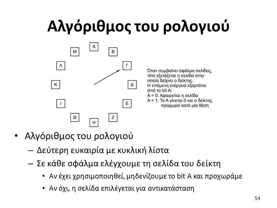 Αλγόριθμος του ρολογιού – Δεύτερη ευκαιρία με κυκλική λίστα – Σε κάθε σφάλμα ελέγχουμε τη σελίδα του δείκτη Αν έχει χρησιμοποιηθεί, μηδενίζουμε το bit Α και προχωράμε Αν όχι, η σελίδα επιλέγεται για αντικατάσταση 54