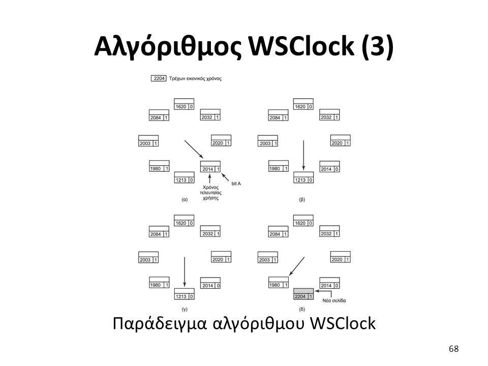 Αλγόριθμος WSClock (3) Παράδειγμα αλγόριθμου WSClock 68