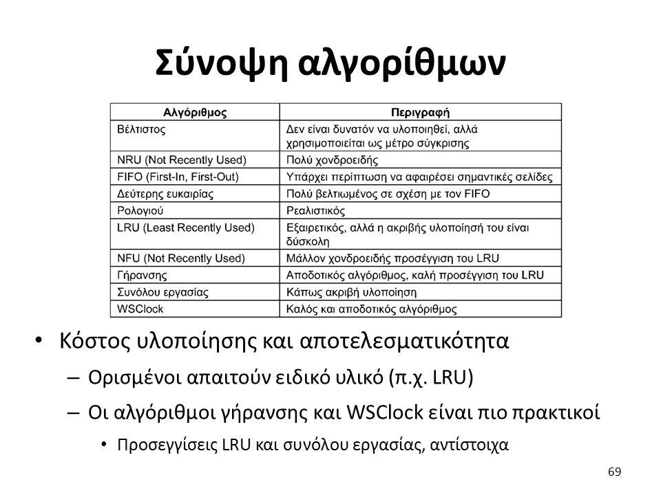Σύνοψη αλγορίθμων Κόστος υλοποίησης και αποτελεσματικότητα – Ορισμένοι απαιτούν ειδικό υλικό (π.χ. LRU) – Οι αλγόριθμοι γήρανσης και WSClock είναι πιο