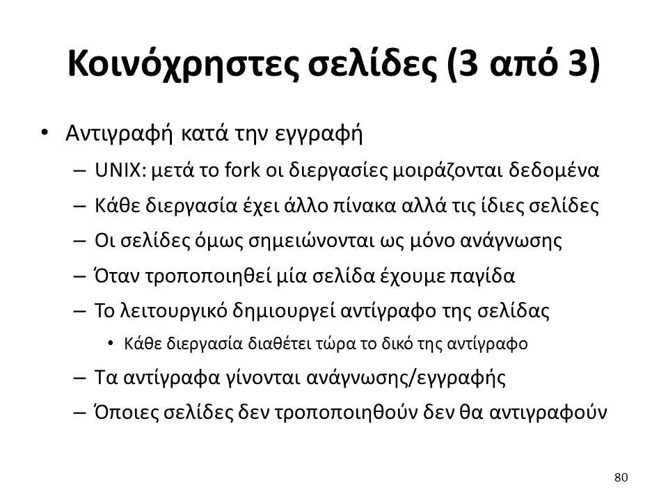 Κοινόχρηστες σελίδες (3 από 3) Αντιγραφή κατά την εγγραφή – UNIX: μετά το fork οι διεργασίες μοιράζονται δεδομένα – Κάθε διεργασία έχει άλλο πίνακα αλλά τις ίδιες σελίδες – Οι σελίδες όμως σημειώνονται ως μόνο ανάγνωσης – Όταν τροποποιηθεί μία σελίδα έχουμε παγίδα – Το λειτουργικό δημιουργεί αντίγραφο της σελίδας Κάθε διεργασία διαθέτει τώρα το δικό της αντίγραφο – Τα αντίγραφα γίνονται ανάγνωσης/εγγραφής – Όποιες σελίδες δεν τροποποιηθούν δεν θα αντιγραφούν 80