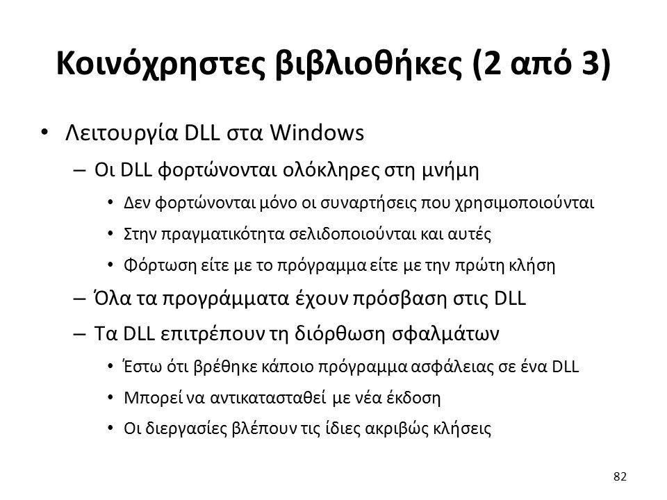 Κοινόχρηστες βιβλιοθήκες (2 από 3) Λειτουργία DLL στα Windows – Οι DLL φορτώνονται ολόκληρες στη μνήμη Δεν φορτώνονται μόνο οι συναρτήσεις που χρησιμοποιούνται Στην πραγματικότητα σελιδοποιούνται και αυτές Φόρτωση είτε με το πρόγραμμα είτε με την πρώτη κλήση – Όλα τα προγράμματα έχουν πρόσβαση στις DLL – Τα DLL επιτρέπουν τη διόρθωση σφαλμάτων Έστω ότι βρέθηκε κάποιο πρόγραμμα ασφάλειας σε ένα DLL Μπορεί να αντικατασταθεί με νέα έκδοση Οι διεργασίες βλέπουν τις ίδιες ακριβώς κλήσεις 82