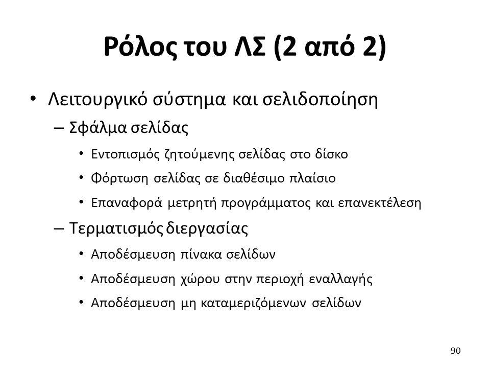 Ρόλος του ΛΣ (2 από 2) Λειτουργικό σύστημα και σελιδοποίηση – Σφάλμα σελίδας Εντοπισμός ζητούμενης σελίδας στο δίσκο Φόρτωση σελίδας σε διαθέσιμο πλαί