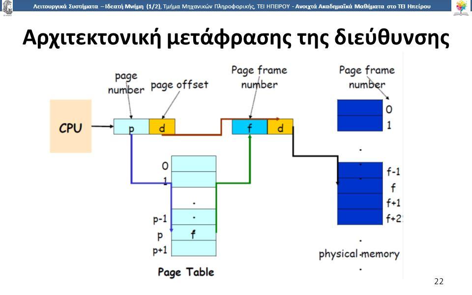 2 Λειτουργικά Συστήματα – Ιδεατή Μνήμη (1/2), Τμήμα Μηχανικών Πληροφορικής, ΤΕΙ ΗΠΕΙΡΟΥ - Ανοιχτά Ακαδημαϊκά Μαθήματα στο ΤΕΙ Ηπείρου Αρχιτεκτονική μετάφρασης της διεύθυνσης 22