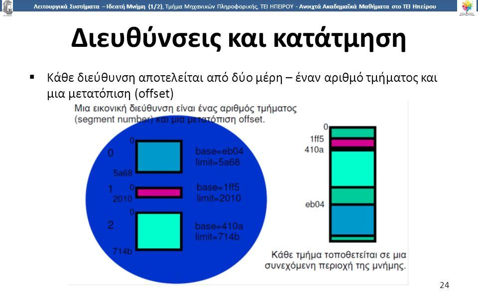 2424 Λειτουργικά Συστήματα – Ιδεατή Μνήμη (1/2), Τμήμα Μηχανικών Πληροφορικής, ΤΕΙ ΗΠΕΙΡΟΥ - Ανοιχτά Ακαδημαϊκά Μαθήματα στο ΤΕΙ Ηπείρου Διευθύνσεις και κατάτμηση  Κάθε διεύθυνση αποτελείται από δύο μέρη – έναν αριθμό τμήματος και μια μετατόπιση (offset) 24