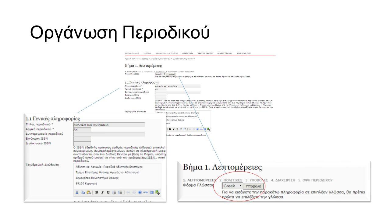 Ρόλοι στο OJS Διαχειριστής Περιοδικού (Journal Manager) Επιμελητής Περιοδικού (Editor) Επιμελητής Ενότητας (Section Editor) Επιμελητής Κειμένων(CopyEditor) Επιμελητής Σελιδοποίησης (Layout Editor) Επιμελητής Τυπογραφικών Δοκιμίων (Proofreader) Επιμελητής Συνδρομών (Subscription Manager) Αξιολογητής (Reviewer) Συγγραφέας (Author) Αναγνώστης (Reader)