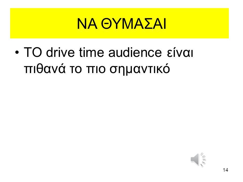 ΝΑ ΘΥΜΑΣΑΙ ΤΟ drive time audience είναι πιθανά το πιο σημαντικό 14