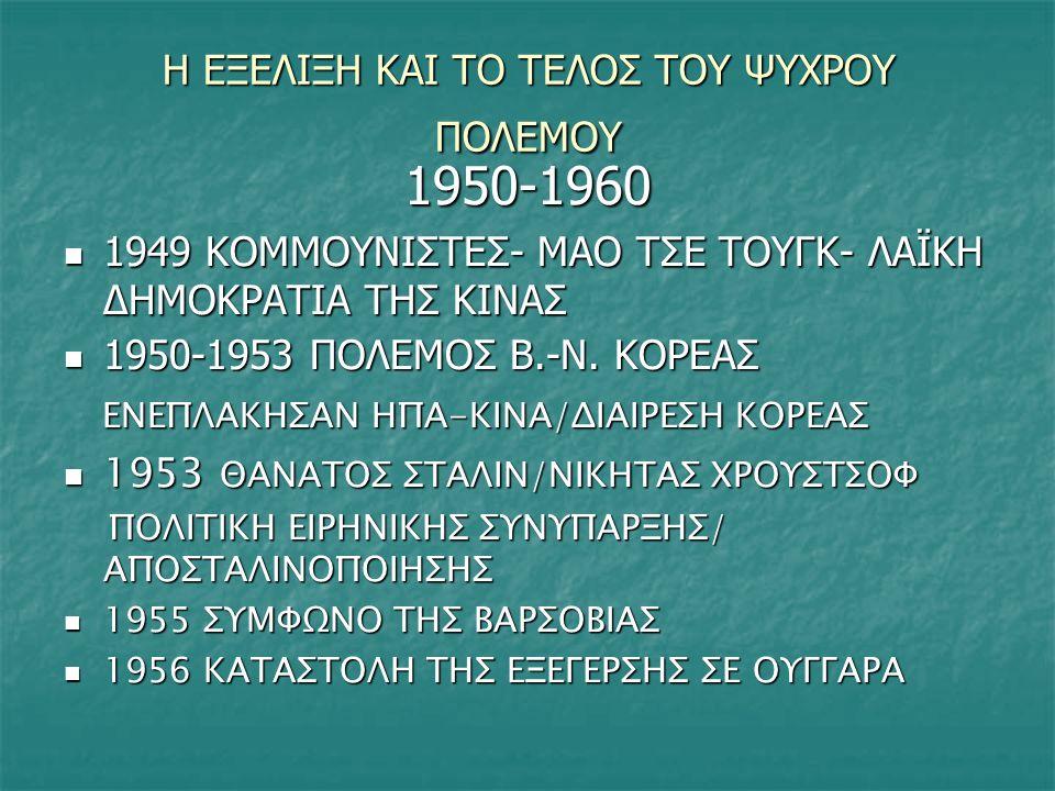 ΔΕΚΑΕΤΙΑ 1960 1961 ΑΝΕΓΕΡΣΗ ΤΟΥ ΤΕΙΧΟΥΣ ΤΟΥ ΒΕΡΟΛΙΝΟΥ 1961 ΑΝΕΓΕΡΣΗ ΤΟΥ ΤΕΙΧΟΥΣ ΤΟΥ ΒΕΡΟΛΙΝΟΥ 1962 ΚΡΙΣΗ ΤΩΝ ΠΥΡΑΥΛΩΝ ΤΗΣ ΚΟΥΒΑΣ 1962 ΚΡΙΣΗ ΤΩΝ ΠΥΡΑΥΛΩΝ ΤΗΣ ΚΟΥΒΑΣ ΣΤΗΝ ΠΡΟΟΠΤΙΚΗ ΝΑ ΕΓΚΑΤΑΣΤΑΘΟΥΝ ΣΤΗΝ ΚΟΥΒΑ ΣΟΒΙΕΤΙΚΟΙ ΠΥΡΑΥΛΟΙ ΟΙ ΗΠΑ ΑΝΤΕΔΡΑΣΑΝ – ΕΥΘΡΑΥΣΤΗ Η ΕΙΡΗΝΗ ΣΤΗΝ ΠΡΟΟΠΤΙΚΗ ΝΑ ΕΓΚΑΤΑΣΤΑΘΟΥΝ ΣΤΗΝ ΚΟΥΒΑ ΣΟΒΙΕΤΙΚΟΙ ΠΥΡΑΥΛΟΙ ΟΙ ΗΠΑ ΑΝΤΕΔΡΑΣΑΝ – ΕΥΘΡΑΥΣΤΗ Η ΕΙΡΗΝΗ 1964 ΟΙ ΗΠΑ ΣΤΕΛΝΟΥΝ ΣΤΡΑΤΟ ΣΤΟ ΒΙΕΤΝΑΜ /ΑΔΥΝΑΜΙΑ ΝΑ ΝΙΚΗΣΟΥΝ-ΑΝΤΙΔΡΑΣΕΙΣ ΚΑΙ ΣΤΟ ΕΣΩΤΕΡΙΚΟ ΤΩΝ ΗΠΑ 1964 ΟΙ ΗΠΑ ΣΤΕΛΝΟΥΝ ΣΤΡΑΤΟ ΣΤΟ ΒΙΕΤΝΑΜ /ΑΔΥΝΑΜΙΑ ΝΑ ΝΙΚΗΣΟΥΝ-ΑΝΤΙΔΡΑΣΕΙΣ ΚΑΙ ΣΤΟ ΕΣΩΤΕΡΙΚΟ ΤΩΝ ΗΠΑ 1973 ΑΠΟΧΩΡΗΣΗ ΗΠΑ ΑΠΟ ΒΙΕΤΝΑΜ – ΡΙΤΣΑΡΝΤ ΝΙΞΟΝ 1973 ΑΠΟΧΩΡΗΣΗ ΗΠΑ ΑΠΟ ΒΙΕΤΝΑΜ – ΡΙΤΣΑΡΝΤ ΝΙΞΟΝ 1968 ΕΙΣΒΟΛΗ ΣΤΗΝ ΤΣΕΧΟΣΛΟΒΑΚΙΑ 1968 ΕΙΣΒΟΛΗ ΣΤΗΝ ΤΣΕΧΟΣΛΟΒΑΚΙΑ
