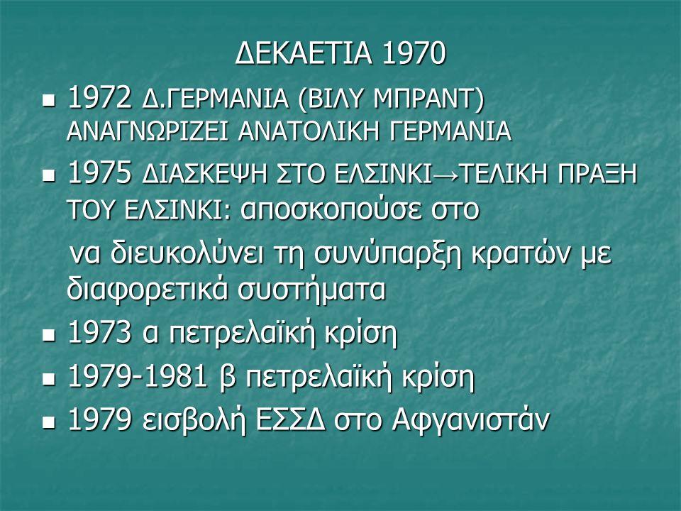 ΔΕΚΑΕΤΙΑ 1980 1981 ΠΡΟΕΔΡΟΣ ΗΠΑ Ο ΡΟΝΑΛΝΤ ΡΗΓΚΑΝ 1981 ΠΡΟΕΔΡΟΣ ΗΠΑ Ο ΡΟΝΑΛΝΤ ΡΗΓΚΑΝ ΕΝΤΑΣΗ ΑΠΟ ΠΥΡΑΥΛΟΥΣ ΕΣΣΔ-ΗΠΑ ΣΕ ΕΥΡΩΠΗ ΕΝΤΑΣΗ ΑΠΟ ΠΥΡΑΥΛΟΥΣ ΕΣΣΔ-ΗΠΑ ΣΕ ΕΥΡΩΠΗ ΑΛΛΗΛΕΓΓΥΗ-ΕΡΓΑΤΙΚΟ ΣΥΝΔΙΚΑΤΟ ΣΕ ΠΟΛΩΝΙΑ-ΛΕΧ ΒΑΛΕΣΑ/ ΓΙΑΡΟΥΖΕΛΣΚΙ ΑΛΛΗΛΕΓΓΥΗ-ΕΡΓΑΤΙΚΟ ΣΥΝΔΙΚΑΤΟ ΣΕ ΠΟΛΩΝΙΑ-ΛΕΧ ΒΑΛΕΣΑ/ ΓΙΑΡΟΥΖΕΛΣΚΙ 1985 ΜΙΧΑΗΛ ΓΚΟΡΜΠΑΤΣΟΦ – ΕΣΣΔ γκλαστνοστ (διαφάνεια) περεστρόικα (αλλαγή) 1985 ΜΙΧΑΗΛ ΓΚΟΡΜΠΑΤΣΟΦ – ΕΣΣΔ γκλαστνοστ (διαφάνεια) περεστρόικα (αλλαγή) 1989 ΠΤΩΣΗ ΤΕΙΧΟΥΣ ΒΕΡΟΛΙΝΟΥ- ΕΠΑΝΕΝΩΣΗ ΓΕΡΜΑΝΙΑΣ 1989 ΠΤΩΣΗ ΤΕΙΧΟΥΣ ΒΕΡΟΛΙΝΟΥ- ΕΠΑΝΕΝΩΣΗ ΓΕΡΜΑΝΙΑΣ ΚΑΤΑΡΡΕΥΣΗ ΦΙΛΟΣΟΒΙΕΤΙΚΩΝ ΚΑΘΕΣΤΩΤΩΝ ΣΕ ΑΝΑΤΟΛΙΚΗ ΕΥΡΩΠΗ ΚΑΤΑΡΡΕΥΣΗ ΦΙΛΟΣΟΒΙΕΤΙΚΩΝ ΚΑΘΕΣΤΩΤΩΝ ΣΕ ΑΝΑΤΟΛΙΚΗ ΕΥΡΩΠΗ 1991 ΔΙΑΛΥΣΗ ΕΣΣΔ 1991 ΔΙΑΛΥΣΗ ΕΣΣΔ