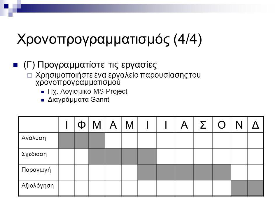 Χρονοπρογραμματισμός (4/4) (Γ) Προγραμματίστε τις εργασίες  Χρησιμοποιήστε ένα εργαλείο παρουσίασης του χρονοπρογραμματισμού Πχ.