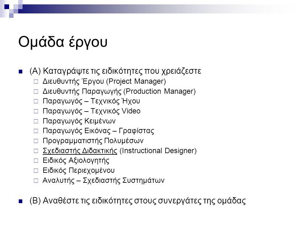 Ομάδα έργου (Α) Καταγράψτε τις ειδικότητες που χρειάζεστε  Διευθυντής Έργου (Project Manager)  Διευθυντής Παραγωγής (Production Manager)  Παραγωγός – Τεχνικός Ήχου  Παραγωγός – Τεχνικός Video  Παραγωγός Κειμένων  Παραγωγός Εικόνας – Γραφίστας  Προγραμματιστής Πολυμέσων  Σχεδιαστής Διδακτικής (Instructional Designer)  Ειδικός Αξιολογητής  Ειδικός Περιεχομένου  Αναλυτής – Σχεδιαστής Συστημάτων (Β) Αναθέστε τις ειδικότητες στους συνεργάτες της ομάδας