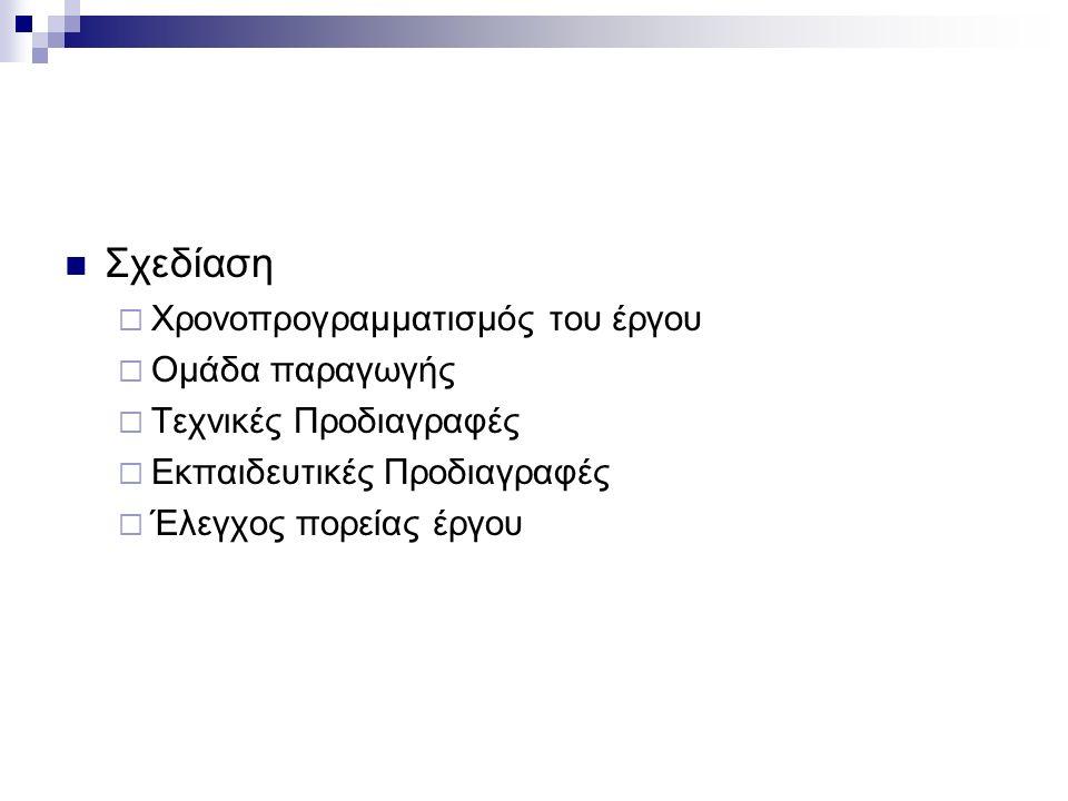 Σχεδίαση  Χρονοπρογραμματισμός του έργου  Ομάδα παραγωγής  Τεχνικές Προδιαγραφές  Εκπαιδευτικές Προδιαγραφές  Έλεγχος πορείας έργου