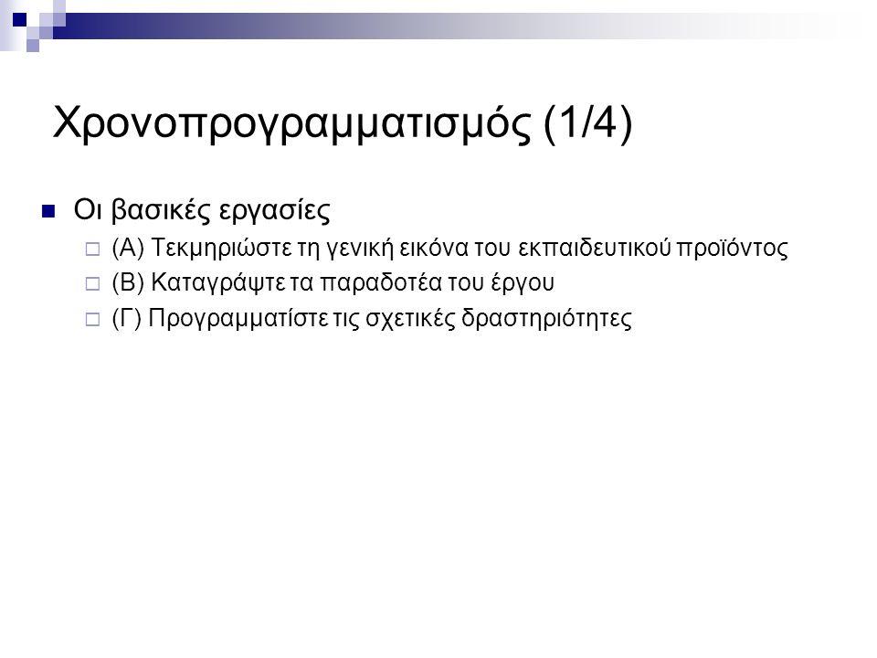 Χρονοπρογραμματισμός (2/4) (Α) Τεκμηρίωση  Απαντά στο γενικό ερώτημα: «Γιατί χρειάζεται να γίνει αυτό που προτείνουμε να γίνει»;  Καταγράψτε τα εξής στοιχεία: Ελλείψεις και εμπόδια που έχουν επισημανθεί στην τωρινή κατάσταση γνώσης – δεξιοτήτων Στόχος του έργου και ποια ανάγκη καλύπτει Επιθυμητά μαθησιακά αποτελέσματα με τη χρήση του προϊόντος Τυχόν περιορισμοί και ιδιαίτερες συνθήκες Στοιχεία που θεωρείτε πως μπορούν να επηρεάσουν την επιτυχία του έργου