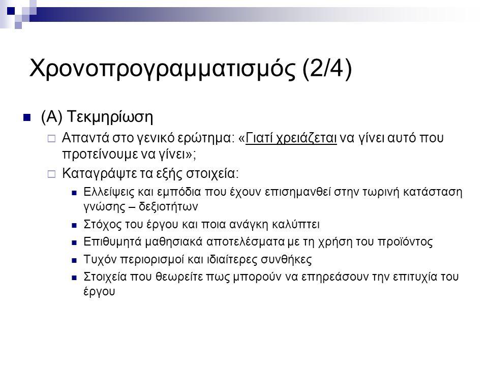 Χρονοπρογραμματισμός (3/4) (Β) Παραδοτέα Έργου  Καθορίστε τα παραδοτέα και τις σχετικές ημερομηνίες  Παραδοτέα: Εσωτερικά της ομάδας, όπως πχ.