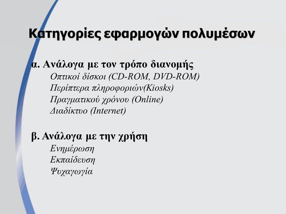 α. Ανάλογα με τον τρόπο διανομής Οπτικοί δίσκοι (CD-ROM, DVD-ROM) Περίπτερα πληροφοριών(Kiosks) Πραγματικού χρόνου (Online) Διαδίκτυο (Internet) Κατηγ