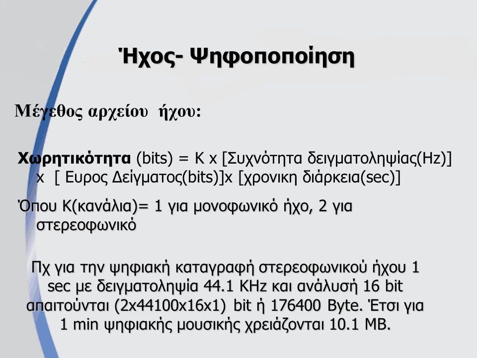 Μέγεθος αρχείου ήχου: Ήχος- Ψηφοποποίηση Χωρητικότητα (bits) = Κ x [Συχνότητα δειγματοληψίας(Hz)] x [ Eυρος Δείγματος(bits)]x [χρονικη διάρκεια(sec)] Όπου Κ(κανάλια)= 1 για μονοφωνικό ήχο, 2 για στερεοφωνικό Πχ για την ψηφιακή καταγραφή στερεοφωνικού ήχου 1 sec με δειγματοληψία 44.1 KHz και ανάλυσή 16 bit απαιτούνται (2x44100x16x1) bit ή 176400 Byte.