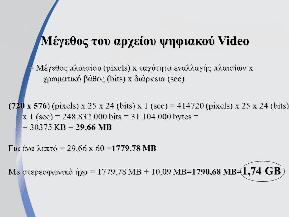 Μέγεθος του αρχείου ψηφιακού Video = Μέγεθος πλαισίου (pixels) x ταχύτητα εναλλαγής πλαισίων x χρωματικό βάθος (bits) x διάρκεια (sec) (720 x 576) (pixels) x 25 x 24 (bits) x 1 (sec) = 414720 (pixels) x 25 x 24 (bits) x 1 (sec) = 248.832.000 bits = 31.104.000 bytes = = 30375 KB = 29,66 MB Για ένα λεπτό = 29,66 x 60 =1779,78 MB Με στερεοφωνικό ήχο = 1779,78 MB + 10,09 MB=1790,68 MB= 1,74 GB