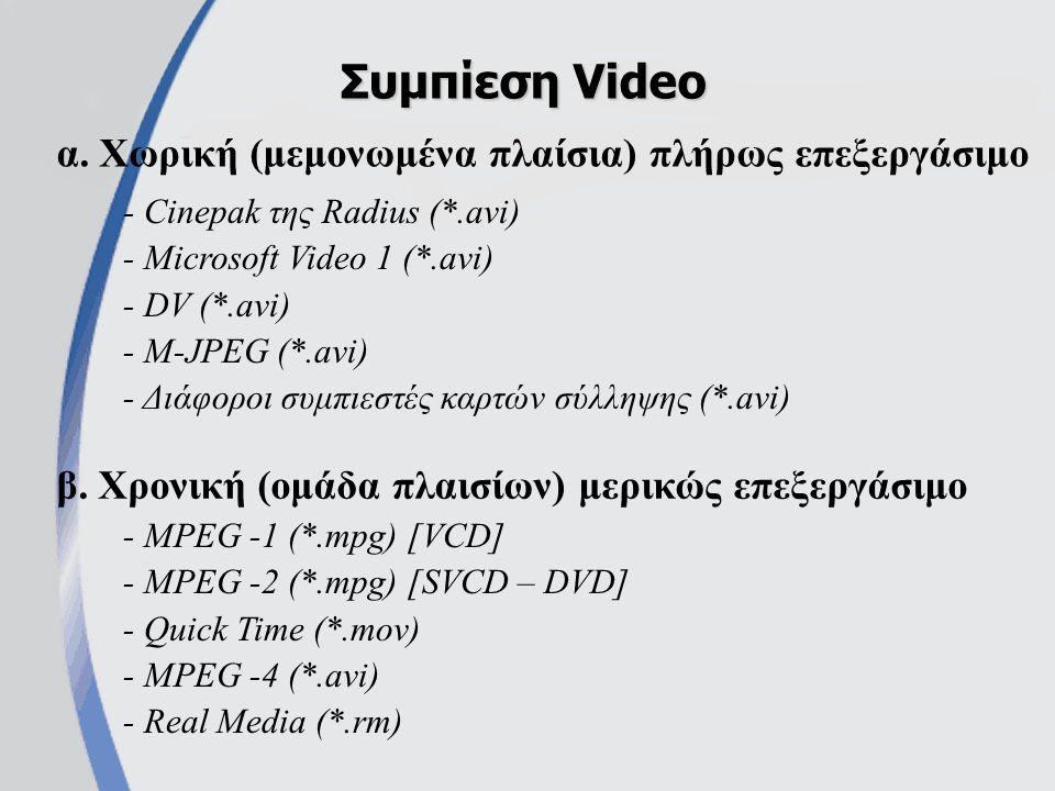 α. Χωρική (μεμονωμένα πλαίσια) πλήρως επεξεργάσιμο Συμπίεση Video β.