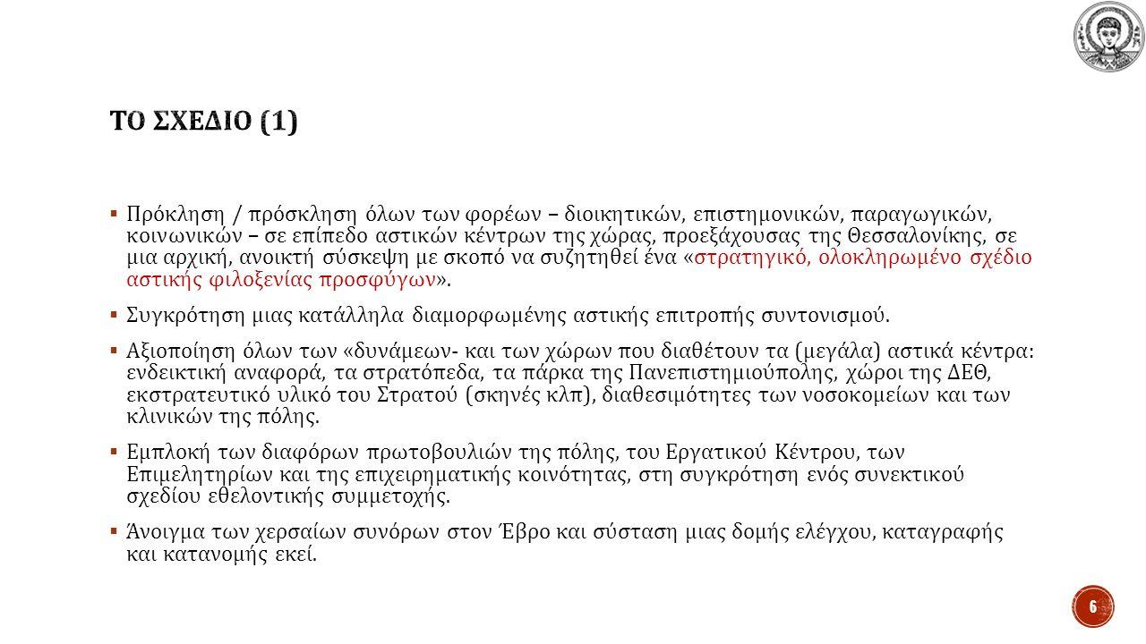  Πρόκληση / πρόσκληση όλων των φορέων – διοικητικών, επιστημονικών, παραγωγικών, κοινωνικών – σε επίπεδο αστικών κέντρων της χώρας, προεξάχουσας της Θεσσαλονίκης, σε μια αρχική, ανοικτή σύσκεψη με σκοπό να συζητηθεί ένα « στρατηγικό, ολοκληρωμένο σχέδιο αστικής φιλοξενίας προσφύγων ».