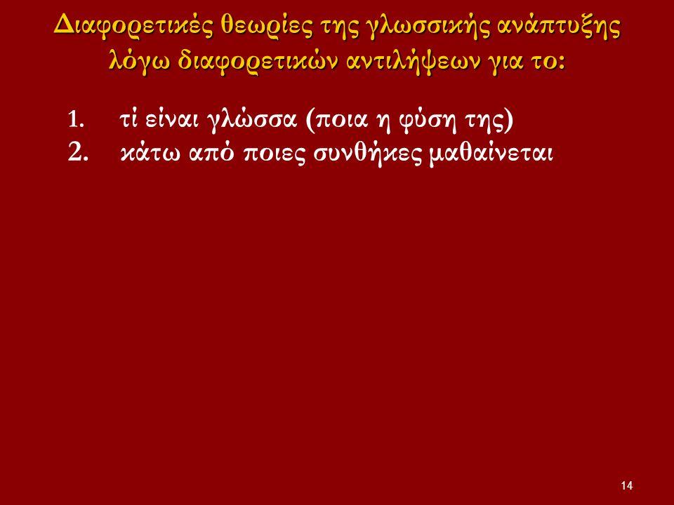 14 Διαφορετικές θεωρίες της γλωσσικής ανάπτυξης λόγω διαφορετικών αντιλήψεων για το: 1. τί είναι γλώσσα (ποια η φύση της) 2. κάτω από ποιες συνθήκες μ