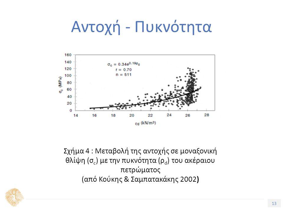 13 Τίτλος Ενότητας Αντοχή - Πυκνότητα Σχήμα 4 : Μεταβολή της αντοχής σε μοναξονική θλίψη (σ c ) με την πυκνότητα (ρ d ) του ακέραιου πετρώματος (από Κούκης & Σαμπατακάκης 2002)