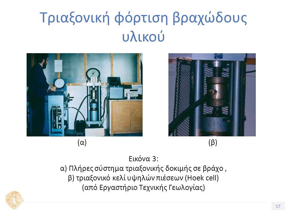 17 Τίτλος Ενότητας Τριαξονική φόρτιση βραχώδους υλικού Εικόνα 3: α) Πλήρες σύστημα τριαξονικής δοκιμής σε βράχο, β) τριαξονικό κελί υψηλών πιέσεων (Hoek cell) (από Εργαστήριο Τεχνικής Γεωλογίας) (α)(β)