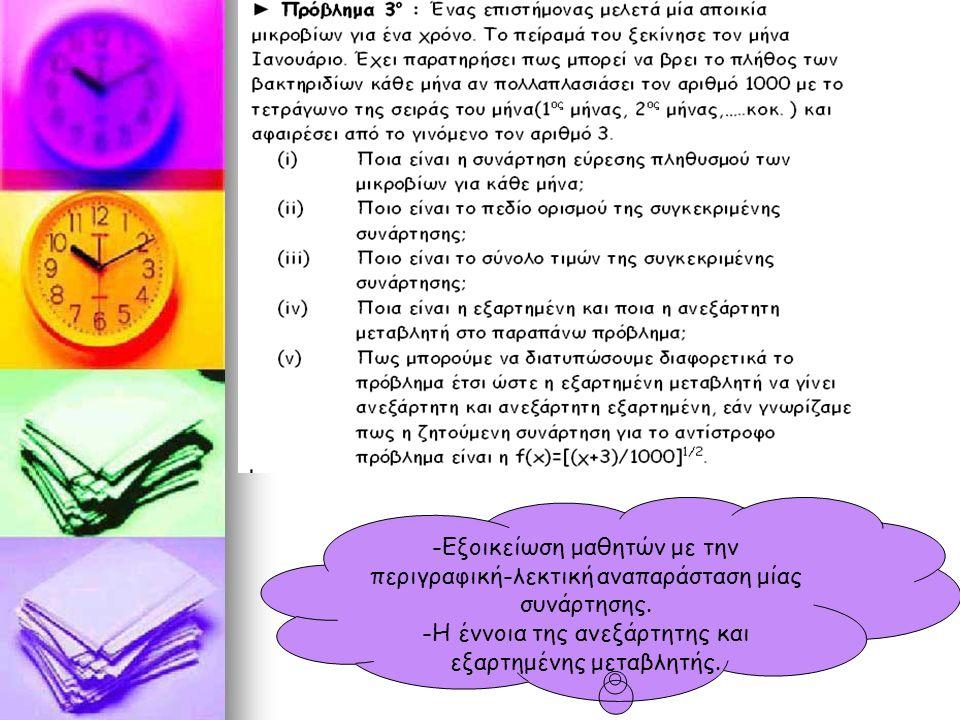 -Εξοικείωση μαθητών με την περιγραφική-λεκτική αναπαράσταση μίας συνάρτησης.
