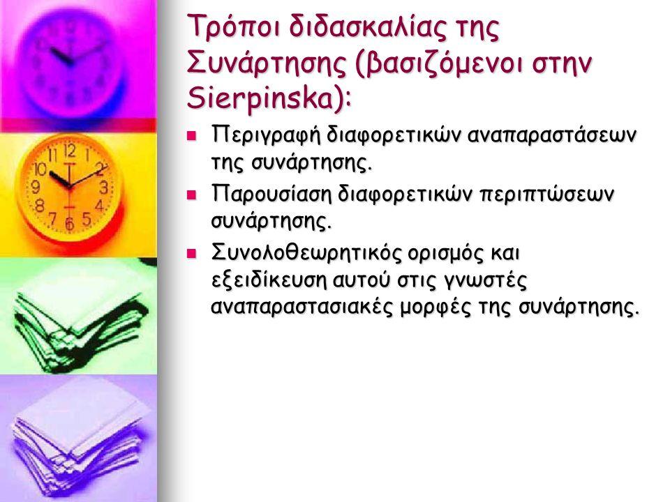 Τρόποι διδασκαλίας της Συνάρτησης (βασιζόμενοι στην Sierpinska): Περιγραφή διαφορετικών αναπαραστάσεων της συνάρτησης.