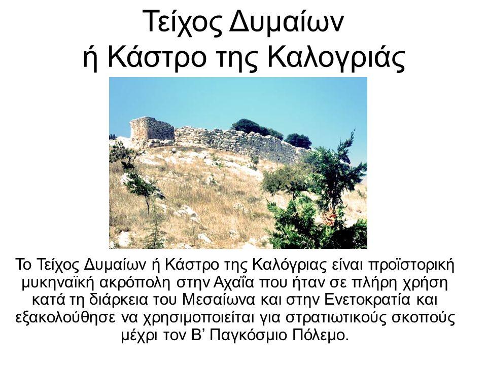 Τείχος Δυμαίων ή Κάστρο της Καλογριάς Το Τείχος Δυμαίων ή Κάστρο της Καλόγριας είναι προϊστορική μυκηναϊκή ακρόπολη στην Αχαΐα που ήταν σε πλήρη χρήση κατά τη διάρκεια του Μεσαίωνα και στην Ενετοκρατία και εξακολούθησε να χρησιμοποιείται για στρατιωτικούς σκοπούς μέχρι τον Β' Παγκόσμιο Πόλεμο.