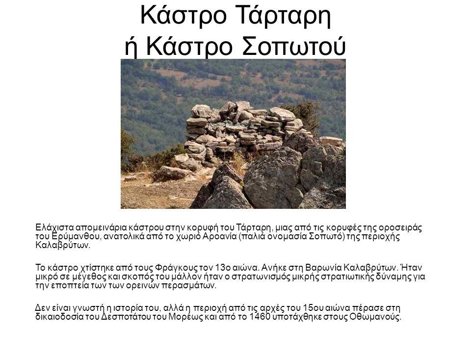 Κάστρο Τάρταρη ή Κάστρο Σοπωτού Ελάχιστα απομεινάρια κάστρου στην κορυφή του Τάρταρη, μιας από τις κορυφές της οροσειράς του Ερύμανθου, ανατολικά από το χωριό Αροανία (παλιά ονομασία Σοπωτό) της περιοχής Καλαβρύτων.